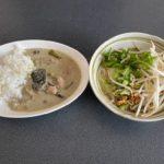 前橋市のタイ料理をテイクアウト!泰処セマクテでランチをお持ち帰り スパイシーな辛味とココナッツミルクの甘みを感じられる「グリーンカレー」と丸鶏の優しいスープの「レック麺(クイッティアオ)」